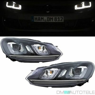 VW Golf 6 VI Scheinwerfer Set 08-12 Chrom Leiste 3D TFL U LED im Golf 7 GTI Look