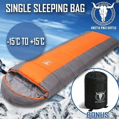 Outdoor Camping Envelope Sleeping Bag Thermal Tent Hiking Winter Single -15°C Or