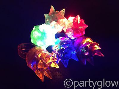LED Flashing Crown Ring Bright LED Flashing Jelly Spike Ring Party Bags Parties