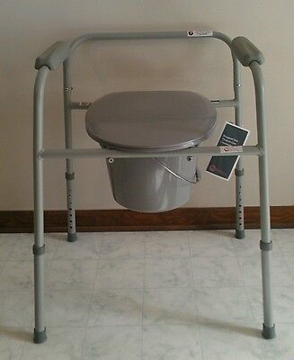 Bedside Commode Portable Toilet Potty Steel Frame Safety Seat Chair