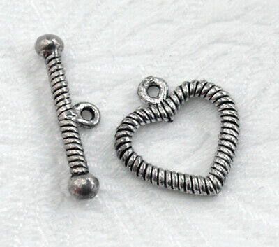 Antique Silver Pewter HEART CLASP SET BRACELET TOGGLE Love Valentine's Day 17mm