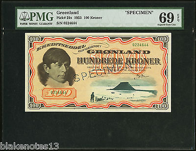 Greenland 100 Kroner 16.1.1953 Credit Notes P-21s Specimen PMG 69 Superb GEM UNC