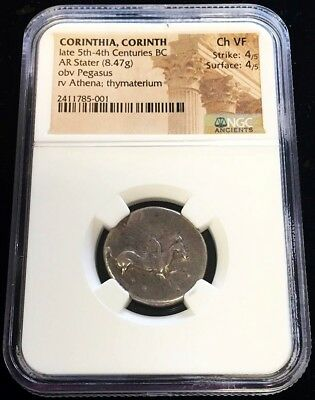 LATE 5th-4th CENTURY BC SILVER CORINTHIA PEGASUS STATER NGC CHOICE VERY FINE