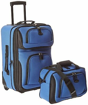 US Traveler Rio Two Piece Expandable Carry-On Luggage Set Royal Blue One Size