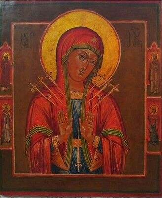 19C Antique Hand Painted Russian Icon Of  Mother Of God Of Seven Swords.