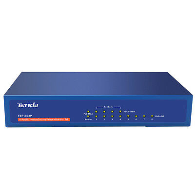 Tenda TEF1008P 8-Port 10/100Mbps Desktop Switch with 4-Port PoE 60W Max Output