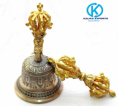 "Buddhist Prayer Bell with Dorje - 9.5"" - Tibetan Prayer Bell -  Handmade Bell"