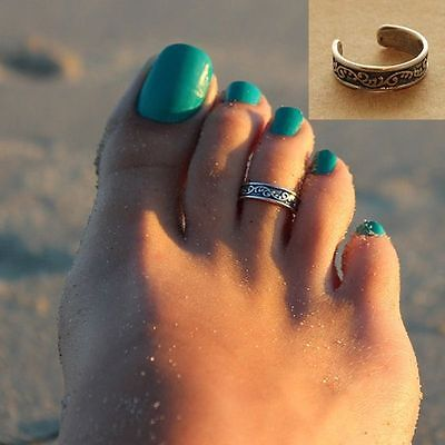 Luxury Celebrity Beach Retro Silver Toe Ring Adjustable Foot Beach Jewelry Gift