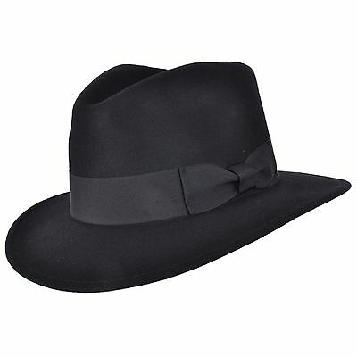 Foldable Black Indiana Hat 100% Wool Felt Fedora Trilby Hat With Wide Band