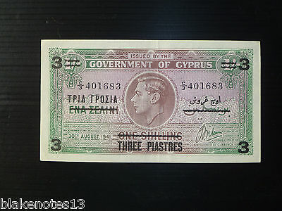 Cyprus Lot P-26 1941 1943 3 Piastres on 1 Shilling AU Add Collection