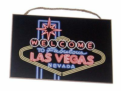 "Welcome to Fabulous Las Vegas Nevada 7""x 10 1/2"" Wood Sign for Bar Den Cave"