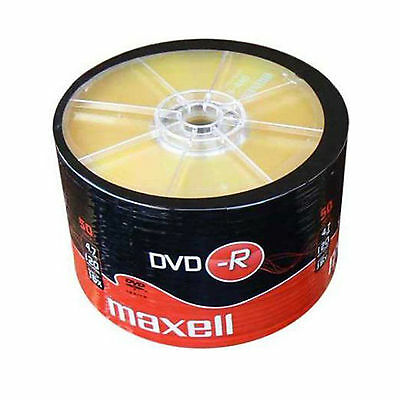 50 Maxell DVD-R (1-16x) 4.7gb Branded GOLD TOP BLANK DISCS, SHRINK WRAP