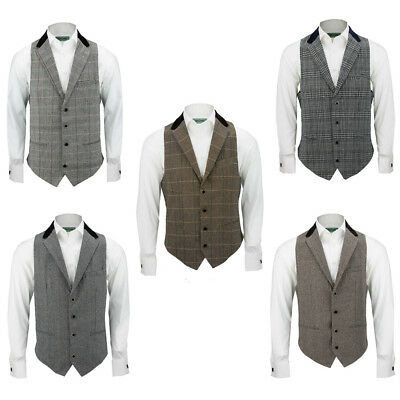 Mens Velvet Collar Grey Brown Herringbone Tweed Check Slim Fit Vintage Waistcoat