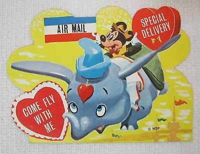 Vintage Disney Mickey Mouse Dumbo Valentine Come Fly w Me Air Mail Near Mint Dr2