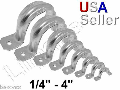 Galvanized Pipe Tubing Conduit Strap Clamp Hanger 2 Hole All Sizes