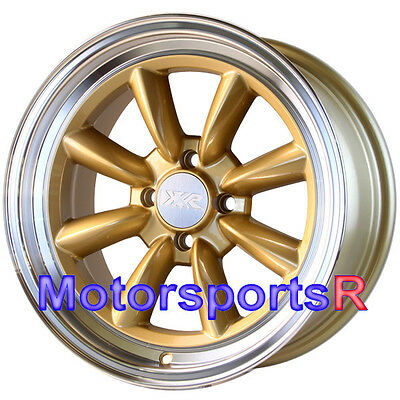 XXR 537 Gold 16 x 8 +20 Wheels Rims 4x100 Stance 95 98 02 Honda Civic SI Hatch