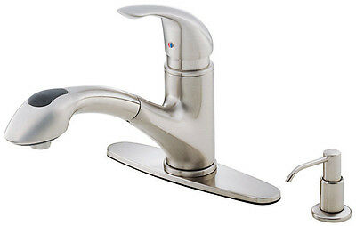 DANZE Melrose Pullout Kitchen Faucet Stainless Steel w/ Soap Disp - D454612SS