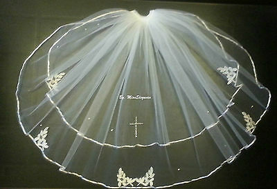 White Ivory Communion Veil  2Tier First holy communion veil with Diamonte CROSS