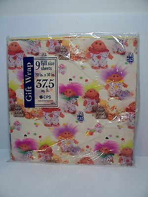 THREE STYLES WRAPPING PAPER - Dam Norfin Troll Doll - NEW IN PACKAGE