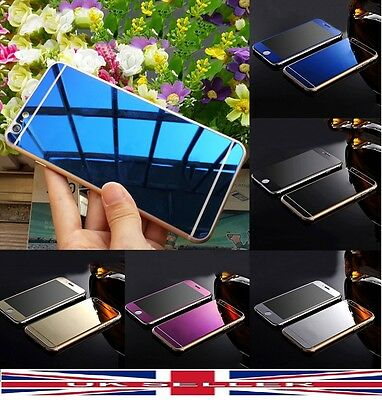 Mirror Effect Tempered Glass Screen Protector For iPhone 5 6 7 Plus Front + Back