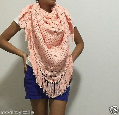 Crochet shawl triangle handcrafted/Cotton Thailand