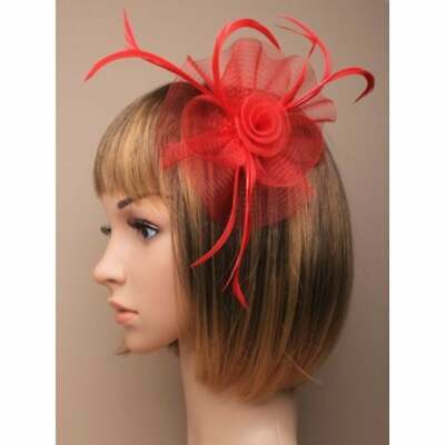 Red fascinator with sinamay flower and feather tendrils (beak clip and pin)