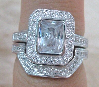 100% REAL 925 STERLING SILVER CZ BRIDAL SET Engagement & Wedding RINGS sz L to Z