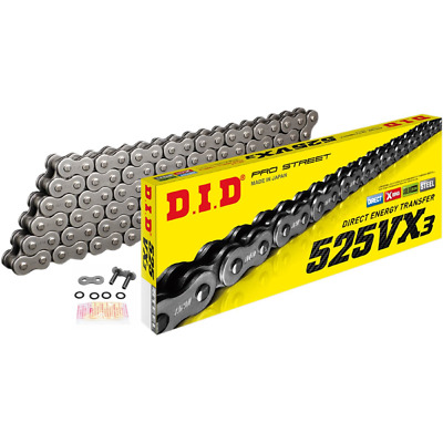 DID Heavy Duty X-Ring Motorcycle Chain 525VX Pitch 106 Links w/ Rivet Link