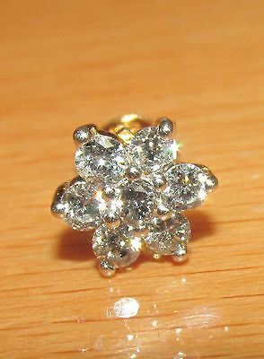 BEAUTIFUL SECONDHAND 18ct YELLOW GOLD 0.37 DIAMOND CLUSTER SINGLE  STUD EARRING