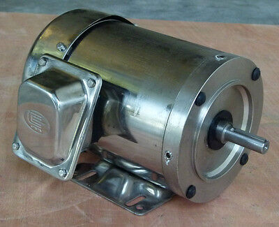 Surplus Sale!!! Stainless Steel AC Motor,3/4 HP,3600RPM,56C,Footed,TEFC,3 Phase