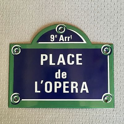 French Street Enamel Sign Plaque - PARIS PLACE DE L OPERA