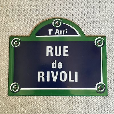 French Street Enamel Sign Plaque - PARIS RUE DE RIVOLI