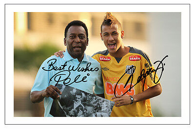 Neymar Jr & Pele Brazil Signed Autograph Photo Print  Soccer