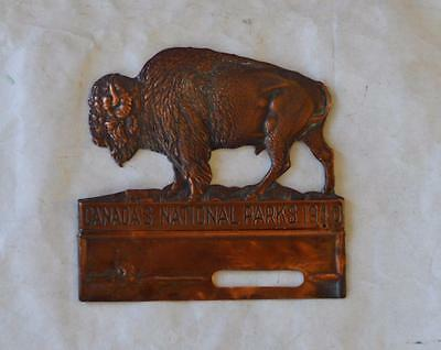 1940 Canada's National Parks Copper Buffalo License Plate Tag Topper Original