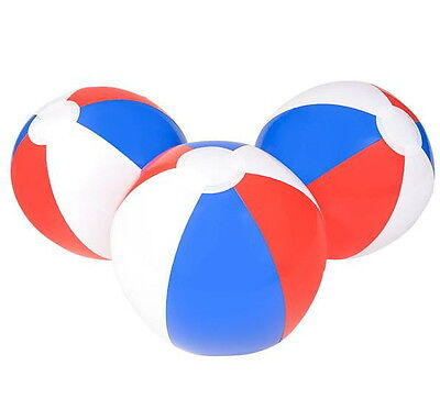 """RED WHITE AND BLUE BEACH BALLS 16/"""" Pool Party Beachball NEW #AA36 Free Ship 6"""