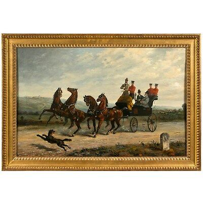 19th Century Oil on Canvas of Gentlemen on a Horse Pulled Wagon. 101-4128