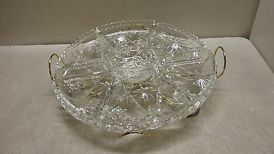 Eapc Lazy Susan 9Pc Relish Tray Platter Turntable Star Of David Anchor Hocking