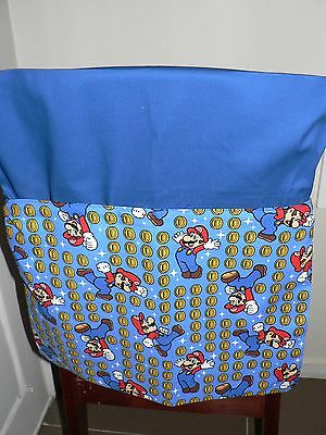 Handmade kids chair bag first name embroidered free Super Mario Print