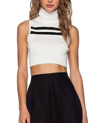 30018b9d79b CAMEO The Label Pyramids Top Turtleneck Crop in Ivory   Black NWT sz S