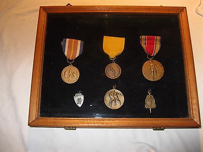 Collection of 6 U.S. Military and Athletic Medals Mounted In Wood Shadow Box