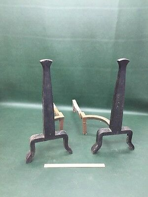 Arts & Crafts / Mid Century Modern Cast Iron Fireplace Andirons