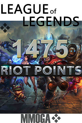 1475 LOL RP Key Code - League of Legends 1475 Riot Points Card PC Game NEU - EU