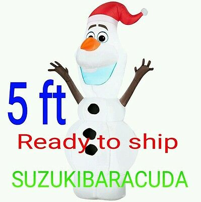 5' Airblown Inflatable Standing Olaf in Santa Hat Disney Frozen Christmas 2015