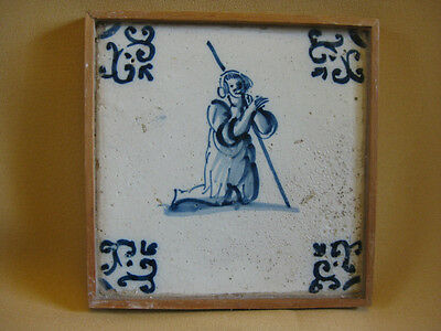 17th C  DUTCH DELFT TILE  WITH A SHEPHERD