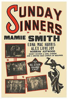 SUNDAY SINNERS (1940) One sheet poster African American cinema ft. Mamie Smith