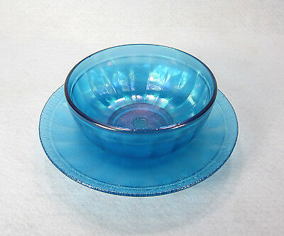 Blue Iridescent Stretch Carnival Glass Bowl w/Underplate Northwood Fenton 1920's