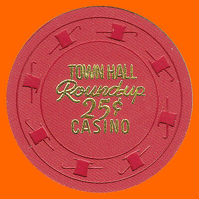 Town Hall Round-Up 25¢ 1962 Casino House Chip North Las Vegas Nv - Free Shipping