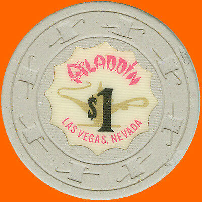 Aladdin $1 1970 Obsolete Casino Chip Scallop Inlay Las Vegas Nv - Free Shipping