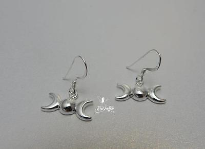 Sterling silver Triple Moon drop earrings, symbol of the Wiccan Goddess pagan