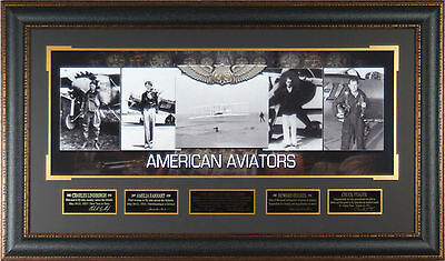 AMERICAN AVIATORS Wright Brothers Amelia Earhart Laser Signed Framed Display RP